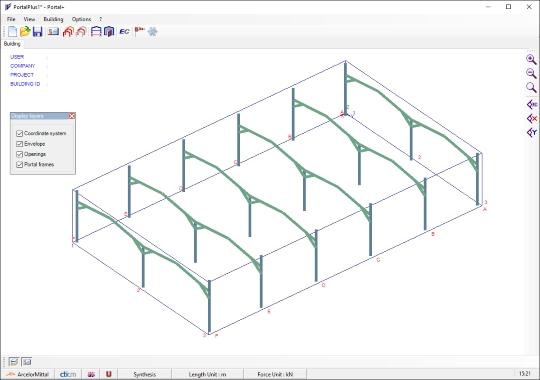 Portal+ 1.23: Software de dimensionamento de estruturas porticadas
