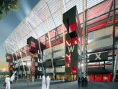 Ras Abu Aboud é um estádio sustentável construído com contentores marítimos